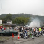 Many people stopped by to watch the famous burnout contest