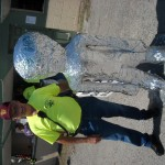 Kecksburg UFO Committee officer Ron Struble with his alien friend