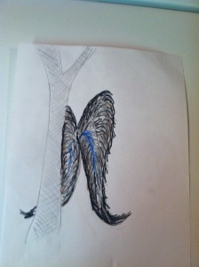 sketch of large wings moving behind the treeUsed with permission of the witness