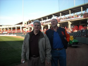 Stan and John Ventre preparing to throw the opening pitch on May 3, 2013. The game was between the Erie Seawolves and Altoona Curve.