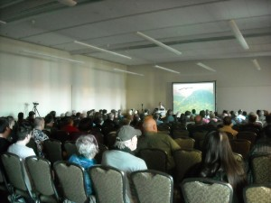 A large crowd attended Stan's lecture on mysterious creatures of Pennsylvania.