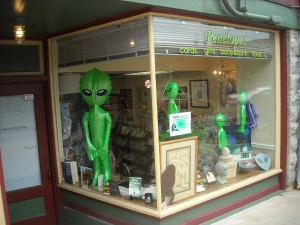 Penelope's downtown Greensburg , PA. UFO-Bigfoot display