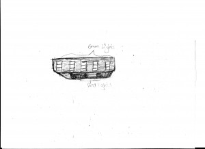 sketch of the object provided by the witness  Sketch used with permission of the witness