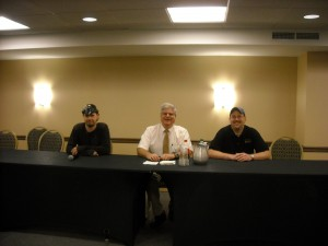 Panel discussion with Ken Gerhard (left) Stan (center) and Eric Altman of the PA Bigfoot Society.