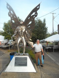 Stan next to the Mothman monument in Point Pleasant, West Virginia.