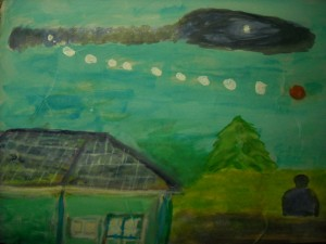 Sketch of the UFO incident as drawn by the witness Used with permission of the witness