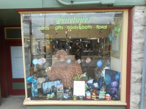 See the UFO and Bigfoot display in Penelope's front window