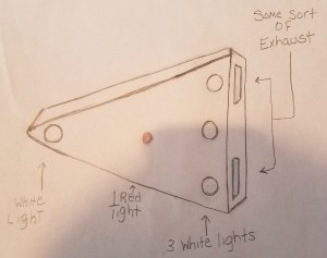 Sketch of triangular object sighted in York County, PA. Sketch used with permission of the witness.