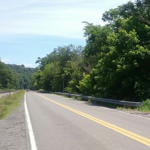 A rural road near West Newton, PA, where a witness reported encountering a Bigfoot in 2016. Copyright 2016 Stan Gordon