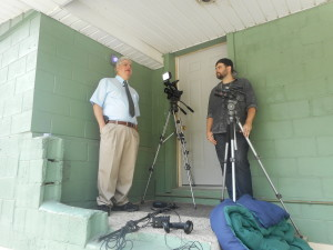 Stan with the film crew at Kecksburg.
